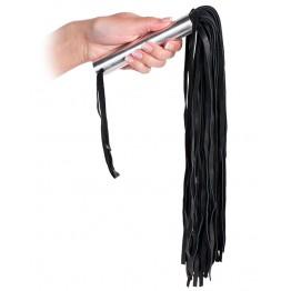 Плеть кожаная с металлической рукоятью Leather Whip Metal черная