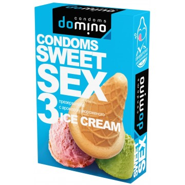 ПРЕЗЕРВАТИВЫ DOMINO SWEET SEX ICE CREAM 3штуки (оральные)