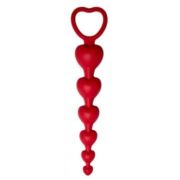 Анальная цепочка Love Beam, силикон, диаметр до 3,2 см, длина 19 , цвет бордовый (One Size)