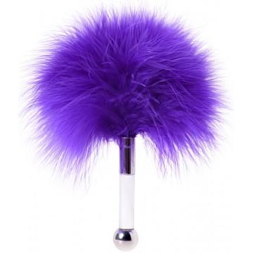 Щекоталка, пластик, перо, фиолетовая