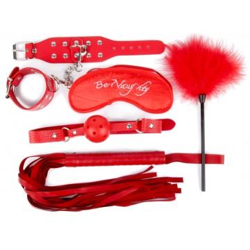 КОМПЛЕКТ (наручники, маска, кляп, плеть, щекоталка с пухом) цвет красный, PVC, текстиль арт. NTB-803