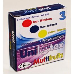 ПРЕЗЕРВАТИВЫ UNILATEX MULTIFRUITS цветные ароматизированные, 3шт