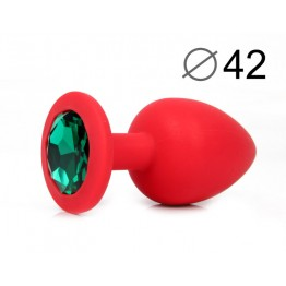 ВТУЛКА АНАЛЬНАЯ, L 95 мм D 42 мм, красная, цвет кристалла зелёный, силикон, арт. SF-70602-07