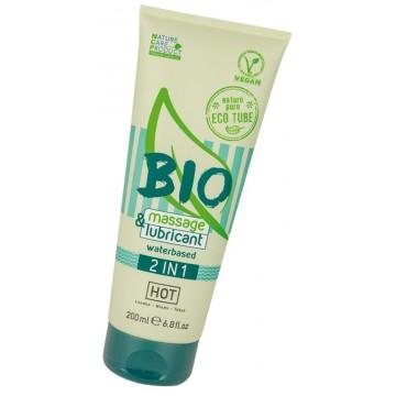 Интимный гель-лубрикант Hot Bio 2in1, на водной основе, массажный гель 2в1, 200 мл