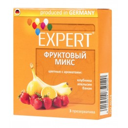 Презервативы Expert Фруктовый микс №3, цветные с ароматами: клубники, апельсина, банана, 3шт