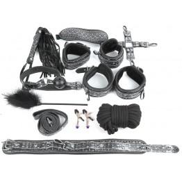 КОМПЛЕКТ NTB-80470 (наручники, оковы, ошейник с поводком, верёвка, фиксатор, плётка, кляп, маска, за