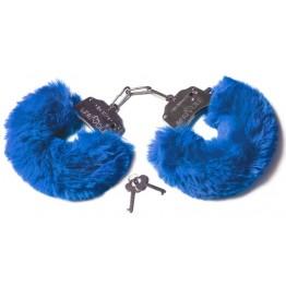 Шикарные наручники с пушистым мехом цвета кобальт (Be Mine) (One Size)