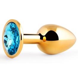 GOLDEN PLUG SMALL (втулка анальная) цвет кристалла голубой, L 72 мм, D 28 мм, вес 50г, арт. GS-05