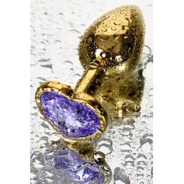 Анальный страз Metal by, металл, золотистый, с кристаллом цвета аметист, 7 см, Ø 2,7 см, 50 г
