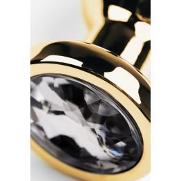 Анальный страз Metal by, металл, золотистый, с кристаллом цвета алмаз, 10 см, Ø 3 см, 95 г