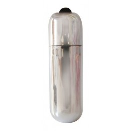 ВИБРАТОР МИНИ ПУЛЯ цвет серебро L 55 мм D 17 мм  арт. EE-10184