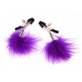 ЗАЖИМЫ НА СОСКИ С ПУШКОМ фиолетовый арт. MLF-90103-04