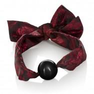 Кляп Scandal Ball Gag с атласными лентами черно-красный