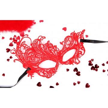 МАСКА АЖУРНАЯ МАРГО цвет красный, текстиль арт. EE-20352-3