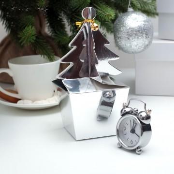 Коробка сборная Елочка, серебро, 8 х 8 х 6,5 см