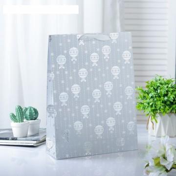 Пакет голографический Новогодние шарики, серебристый, 11,5 х 14,5 х 6,5 см