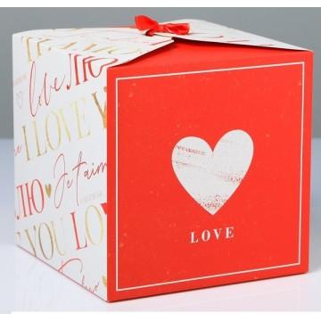 Коробка складная Люблю, 18 × 18 × 18 см 4512890