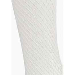 Чулки белые в мелкую сетку с кружевной резинкой (Sense) (SM)