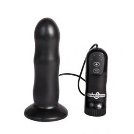 Анальный стимулятор E4 RIB HEAD - BLACK с вибрацией чёрный