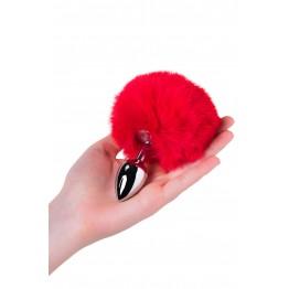 Анальная втулка TOYFA Metal, маленькая, серебристая, с красным хвостиком