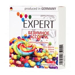 Презервативы Expert Безумное ассорти №3, цветные с ароматами: тутти-фрутти, вишня, мята, 3шт