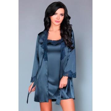 пеньюар, сорочка  и трусики  Jacqueline синий (L-XL, синий)