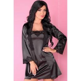 пеньюар, сорочка  и трусики  Jacqueline чёрный (S-M, черный)