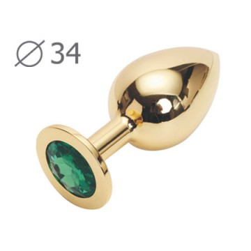 GOLDEN PLUG MEDIUM (втулка анальная), L 82 мм, D 34 мм, вес 90г, цвет кристалла зелёный, арт. GM-07