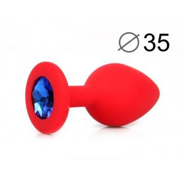 ВТУЛКА АНАЛЬНАЯ, L 80 мм D 35 мм, красная, цвет кристалла синий, силикон, арт. SF-70601-13