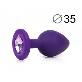 ВТУЛКА АНАЛЬНАЯ, L 80 мм D 35 мм, фиолетовая, цвет кристалла светло-фиолетовый, силикон, арт. SF-707