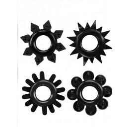 КОЛЬЦО ЭРЕКЦИОННОЕ набор 4 шт, цвет чёрный арт. CN-330358238