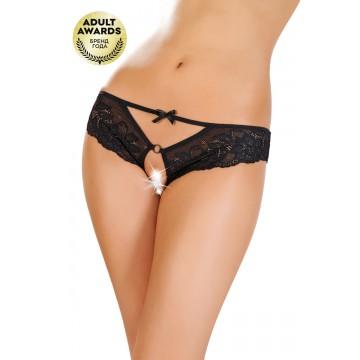 Эротические трусики Erolanta Lingerie Collection, кружевные, черные (50-52)